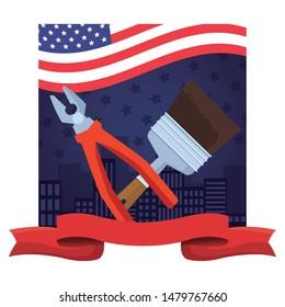 Construction tools plier and paint brush crossed cartoon symbol ,vector illustration graphic design.