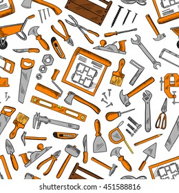 Construction tools seamless pattern with hammers, screwdrivers, spanners, pliers, axes, trowels, paint brushes, rollers, knives, saws, scissors, nails, fasteners, drawings, rullers, carpentry tols