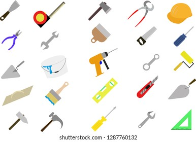 construction tools a set of colored Vector illustration. for repair work. equipment for house: screwdriver, hammer, tape measure,ax, drill, wrench, trowel, saw, roller, paintbrush, pliers, nail puller