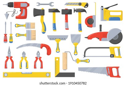 Construction tools set. Instruments for masonry works with concrete and brick, bricklayer job, hammer, screwdriver, drilling machine, paintbrush, spatula. For buildings, repair and renovation concept