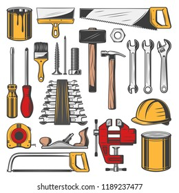 Construction tools set, vector icons. Carpentry and building, professional toolbox with tools. Vector hammers and screwdrivers, rulers and wrenches, hard hat, paint brush, saws and spatula icons