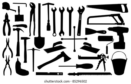 construction tools silhouettes