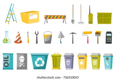 Construction tools and waste bins illustrations set. Collection of recycle bin, step ladder, box, road barrier, spade, rake, portable radio. Vector cartoon illustrations isolated on white background.