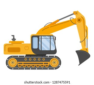 Construction track bulldozer backhoe dipper.Hydraulic excavators.Construction machine.Manufacturing Equipment. Industrial vehicle.Isolated on white.Side view.Flat vector.