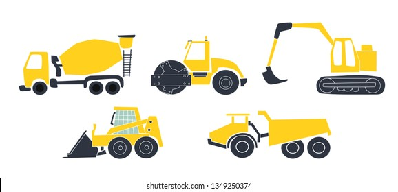Construction Tracks: Dipper, Bulldozer, Tractor, Excavator, Concrete Mixer. Flat Vector Illustration. Cartoon Style Image.