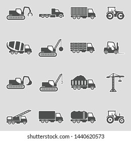 Construction Transport Icons. Sticker Design. Vector Illustration.