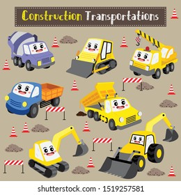 Construction Transportations cartoon set with building site background in perspective view vector illustration.