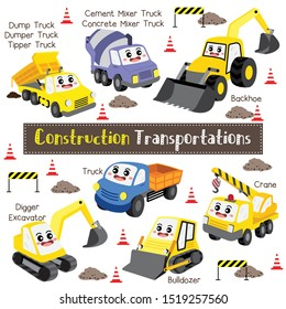 Construction Transportations cartoon set with vehicles name in perspective view vector illustration.