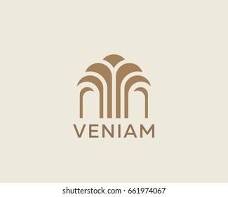 Construction tree business logo design. Premium real estate finance landscape sign. Pavilion, apartment, house, home vector logotype