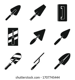 Construction trowel icons set. Simple set of construction trowel vector icons for web design on white background