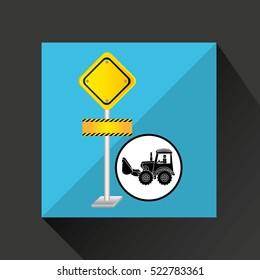 construction truck concept road sign design vector illustration eps 10