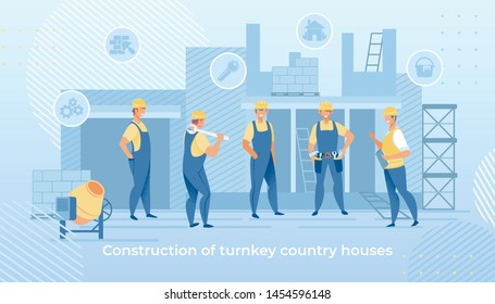 Construction of Turnkey Country Houses Service. Group of Engineers in Working Robe and Helmets with Building Equipment Tools. Carpenter Repairman, Builder, Home Master Cartoon Flat Vector Illustration