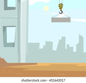 Construction vector cartoon flat illustration. Building construction