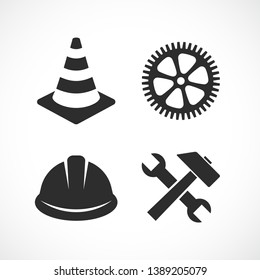 Construction vector icon set isolated on white background