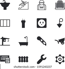 construction vector icon set such as: cogs, stationery, handle, transmission, drop, penknife, battery, up, decorative, number, decoration, engineer, marketing, concrete, modern, vehicle, cutter