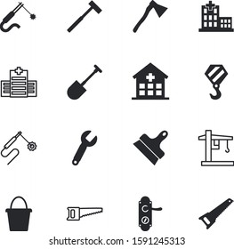 construction vector icon set such as: doorhandle, shape, screw, panel, set, heap, shovel, planting, protection, exit, blue, knob, container, entry, load, closeup, tools, vacancy, scoop, screwdriver