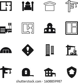construction vector icon set such as: minaret, hook, cottage, concept, triangle, point, islamic, shield, protection, skyscrapers, danger, residence, cable, warehouse, hangar, islam, storage, blue
