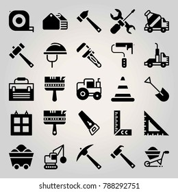 Construction vector icon set. toolbox, set square, wrench and truck