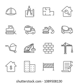Construction vector icons set, outline style. Editable stroke