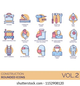 Construction vector icons. Toolbox, carpentry, drilling work, essential tool kit, alert sign, protective gloves, footwear must be worn, no unauthorized personnel, safety harness, face mask, welding.