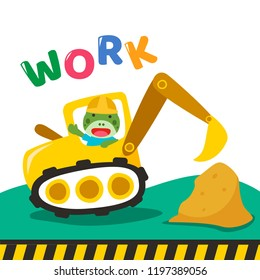 Construction vehicle cartoon illustration