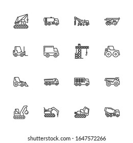 Construction Vehicles Car outline icons set - Black symbol on white background. Flat Vector thin line Icon editable stroke