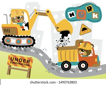 construction vehicles cartoon with funny drivers on the road