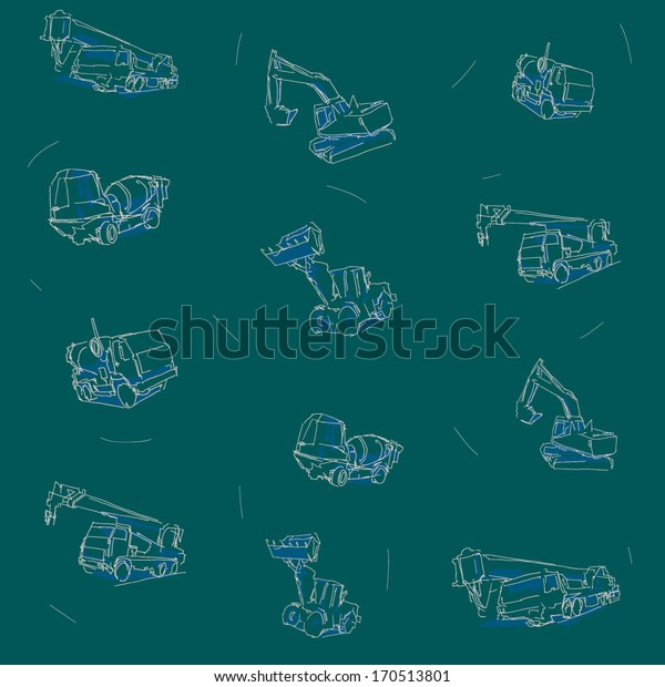 Construction vehicles drawings seamless pattern