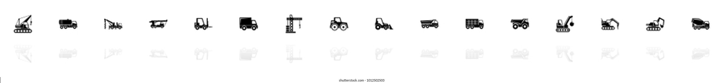 Construction Vehicles icons - Black horizontal Illustration symbol on White Background with a mirror Shadow reflection. Flat Vector Icon.