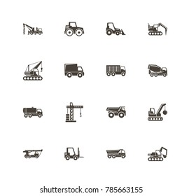 Construction Vehicles icons. Perfect black pictogram on white background. Flat simple vector icon.