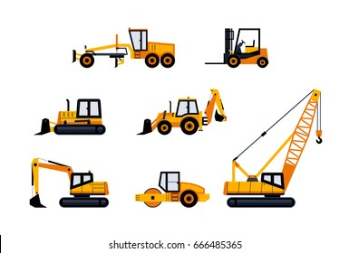 Construction Vehicles - modern vector flat design icon set. Loader, excavator, backhoe, bulldozer, crane, paving machine, road grader, forklift. Heavy machinery to build cities.