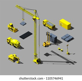 Construction vehicles and objects. Vector isometric illustration.