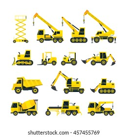Construction Vehicles Objects Yellow Set, Side View, Heavy Equipment, Machinery, Engineering
