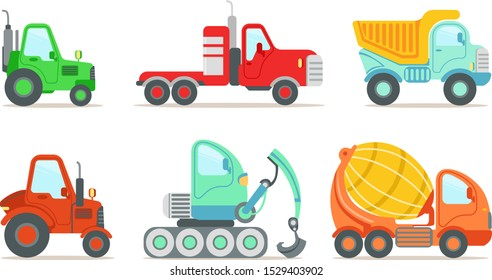 Construction Vehicles Set, Truck, Tractor, Forklift Loader, Bulldozer Vector Illustration