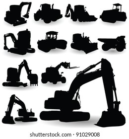 construction work machine silhouette on white background