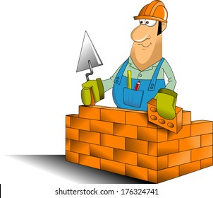 construction worker in blue jumpsuit and yellow helmet, vector and illustration