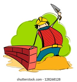 Construction Worker - Cartoon
