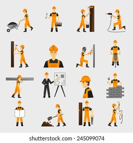 Construction worker character building with hand hammer drill in helmet flat icons set abstract isolated vector illustration