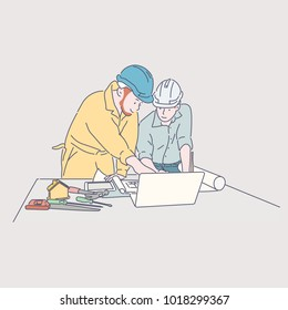 Construction worker characters talking about a blueprint and a laptop. hand drawn style vector doodle design illustrations.