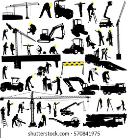 construction and worker collection silhouettes - vector