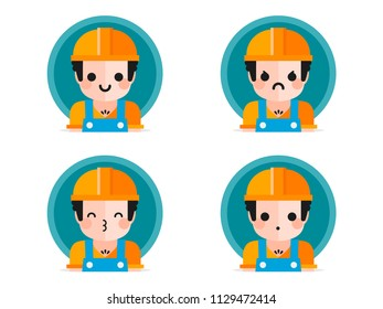 Construction worker colorful flat design icons set, with different expressions, template elements for web and mobile applications