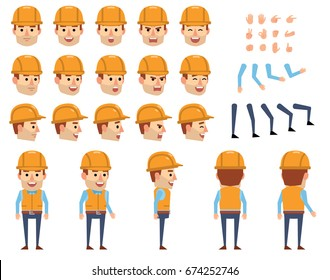 Construction worker creation set. Various gestures, emotions, diverse poses, views. Create your own pose, animation. Flat style vector illustration