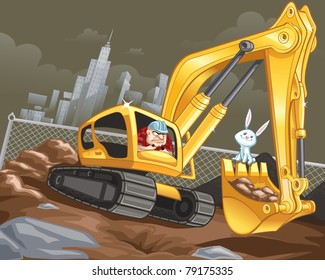 Construction worker in Excavator and happy bunny