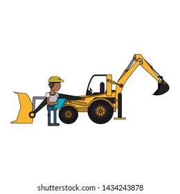 Construction worker with excavator vehicle cartoon vector illustration graphic design