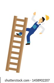 Construction worker falling down from the ladder. Concept of work accident. Flat vector illustration cartoon.