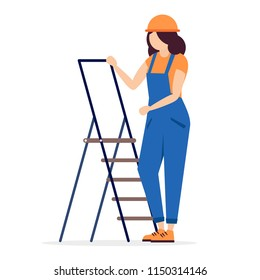 Construction worker female character  in hard hat. Builder woman in helmet and overalls with ladder. Working profession. Full length illustration in trendy simple and clear flat style
