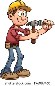 Construction worker hammering a nail. Vector clip art illustration with simple gradients. All in a single layer.