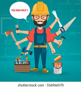 Construction worker with hand party. Vector set of builder with equipment and accessories isolate on color background. Building tools, repair, builder services. Vector image