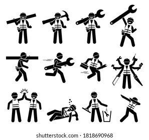 Construction worker and handyman stick figures icons set. Vector illustrations of industrial worker characters with tools and equipment for build, repair, and fix.