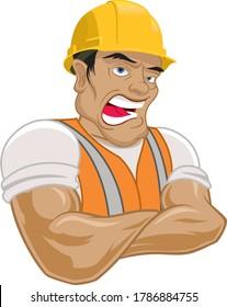 Construction Worker Hard hat Wearing Man